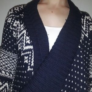 Blue and White Knitted Cardigan Sweater